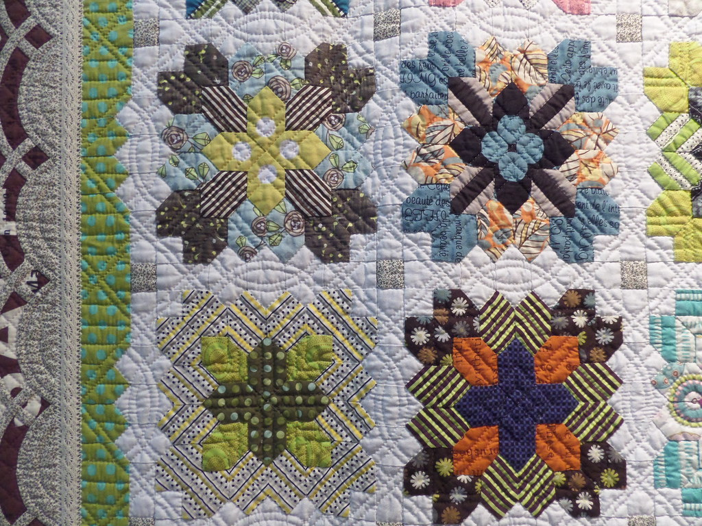 detail from lucy boston patchwork of the crosses quilt