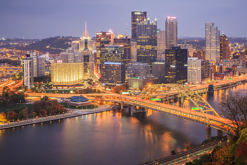 city longexposure fall river lights downtown pittsburgh cityscape pennsylvania pa