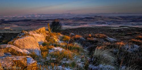 snow sunrise golden scotland unitedkingdom hills views vista falkland