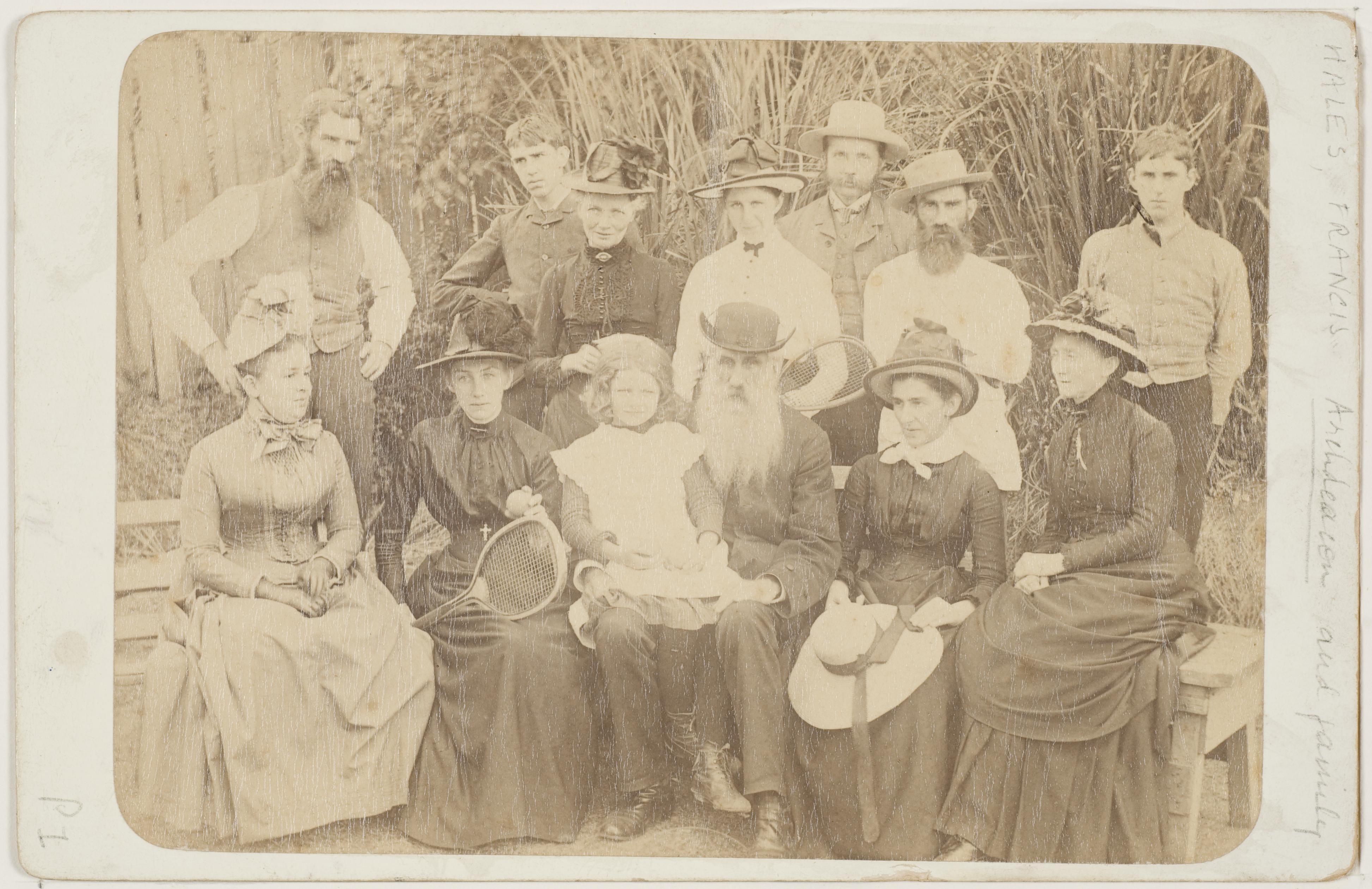 Hales family tennis party, Lyttleton Street, Launceston, TAS, January 1899, photographer unknown