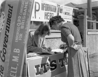 Voting at a New Farm booth election day Brisbane 1947