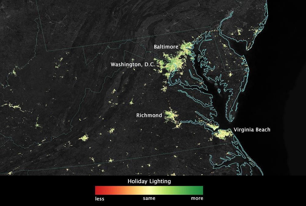 Satellite Sees Holiday Lights Brighten Cities - Washington ... on coordinates of washington dc, air view of washington dc, geoeye washington dc, aerial view of washington dc, city of washington dc, ikonos washington dc, google earth washington dc, satellite maps of my house, latitude of washington dc, layout of washington dc, peninsula washington dc, relative location of washington dc, home of washington dc, absolute location of washington dc, virtual tour of washington dc, overhead view of washington dc, google maps washington dc, aerial map of dc, hotels of washington dc, elevation of washington dc,