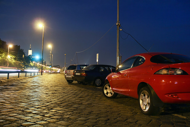 Red Ford Puma at night on the Pest wharf 2