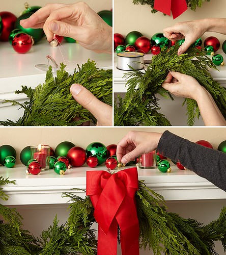 How to hang pine garlands on a fireplace mantel for Christmas with bows and other holiday decorations | by ProFlowers.com