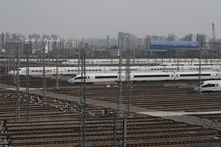 China Railways high speed trains stabled outside Shanghai Hongqiao railway station | by Marcus Wong from Geelong