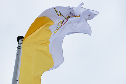 Vatican flag waving during the arrival of Pope Francis at the European Parliament in Strasbourg   by European Parliament
