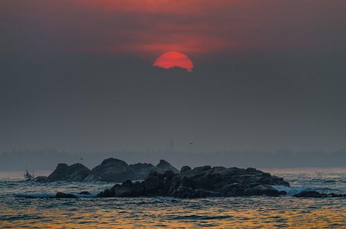 morning sea sun sunrise srilanka