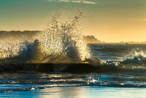 ocean sunset sky sun marine waves break wind crash tide wave shore