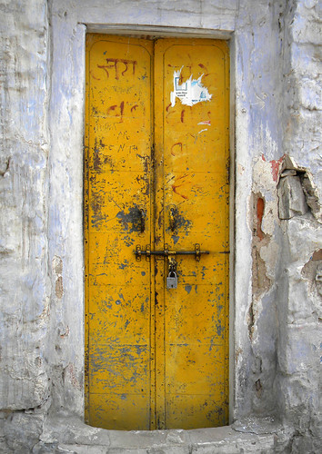 A yellow door in Jaisalmer, India