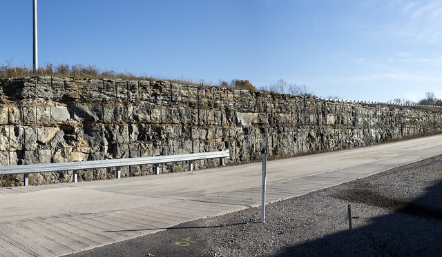 St. Louis Limestone and Warsaw Limestone contact, Highway 111 and Highway 84 junction, rock cut, Livingston, Tennessee