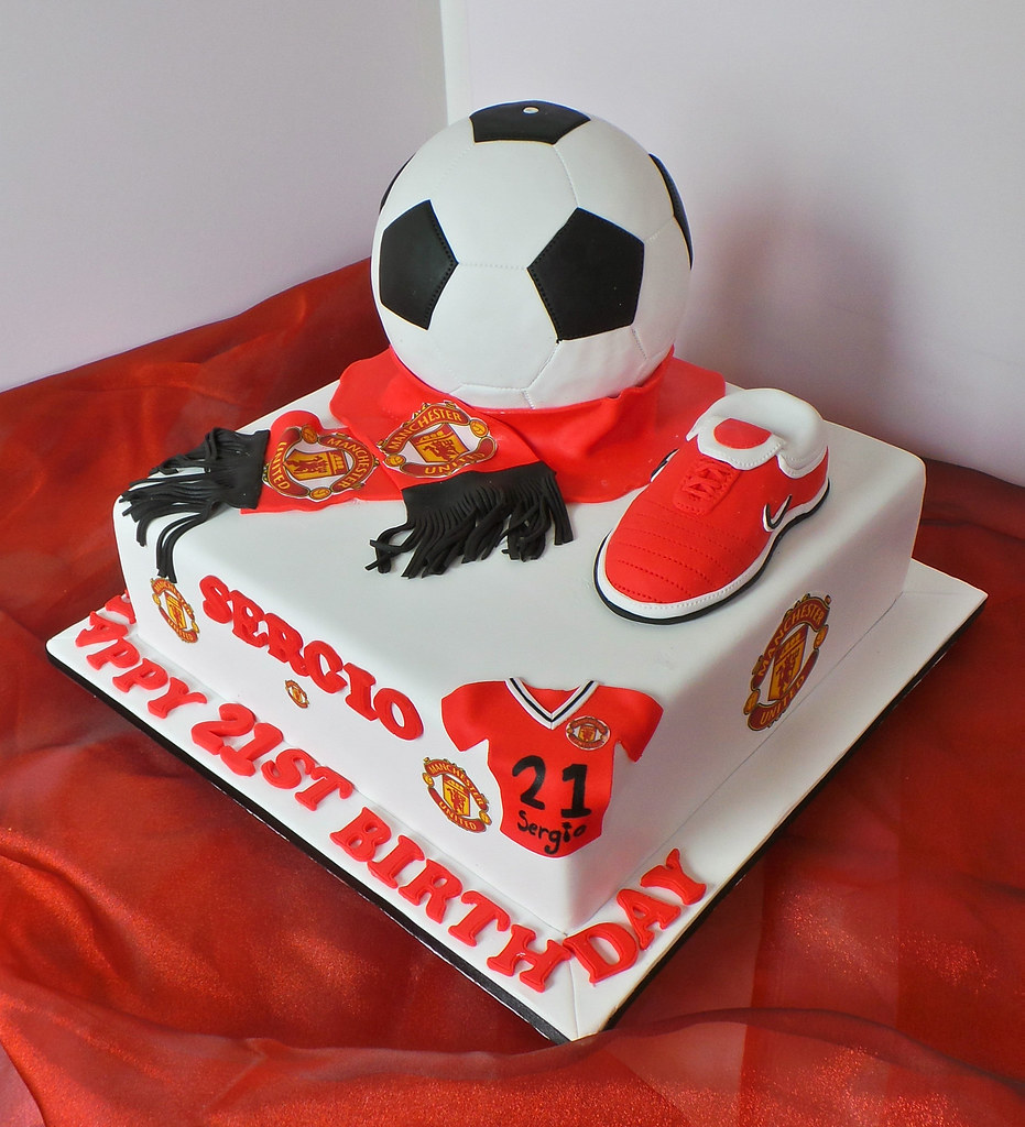 Pleasant Manchester United 21St Themed Birthday Cake Design Was Bro Flickr Birthday Cards Printable Nowaargucafe Filternl