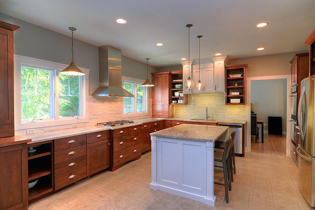 white-stained-kitchen-cabinets-tile-island-backsplash-remo ...
