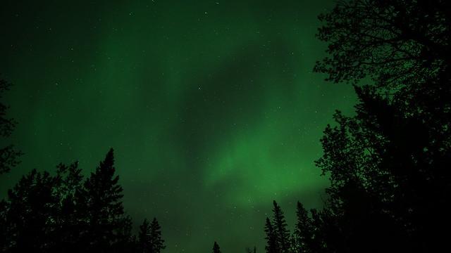 Bright Green Aurora Borealis