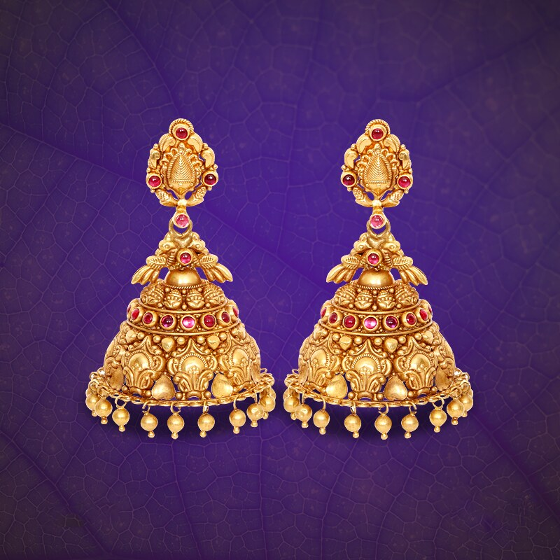 b961e0360d3c6 22K Gold Antique Jhumka from GRT Jewellers | southindiajewel… | Flickr