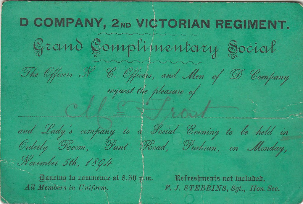 1894 Invitation Card To Mr Frost For Social Event For The