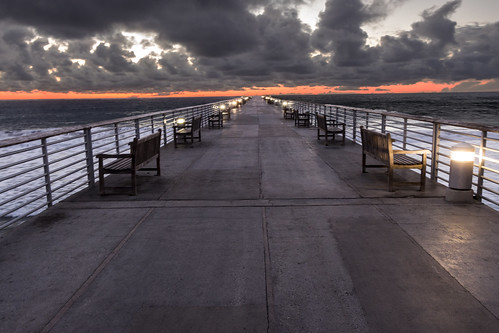 sunset sky seascape beach water clouds coast pier hermosabeach vacationspot