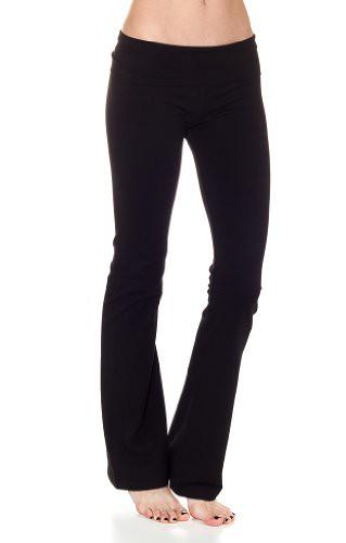 CordiU Women's Basic Fold Over Waist Yoga Pants-Black-Medium Reviews