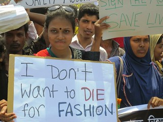 Thousands of garment workers and their unions rally on the one-year anniversary of the Rana Plaza collapse that killed more than 1,100 garment workers | by Solidarity Center