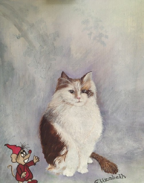Tryed to paint my girlfriends cat, named Elizabeth :) its a Ragdoll.