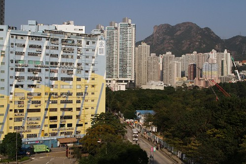 Multi-storey industrial buildings at San Po Kong, with Lion Rock in the distance