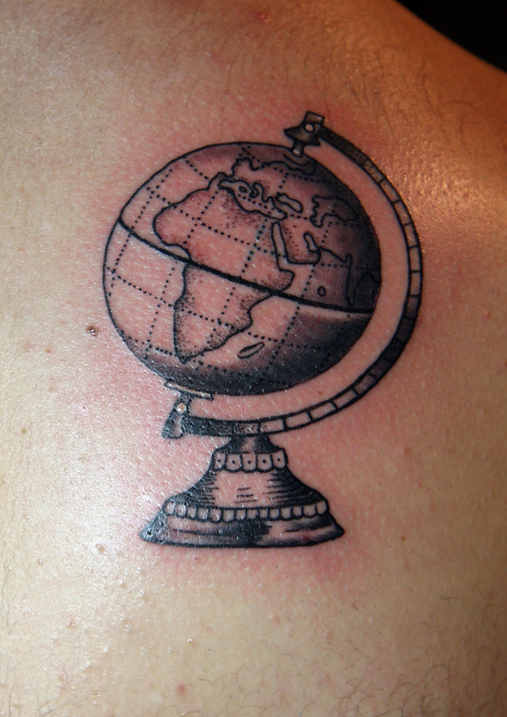 World globe tattoo | Tattoo and design by Christopher Henry,… | Flickr