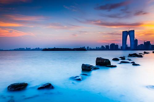 city autumn sunset canon evening cityscape suzhou cloudy clear 6d 蘇州 partlycloudy 2470mm mostlycloudy canon6d
