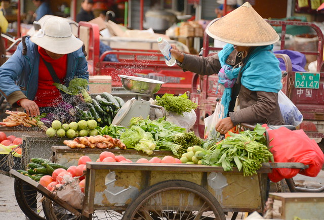How to give that fresh rain feel to your veggies, market of Old town Lijang (丽江), Yunnan Province (云南省), China (中国)