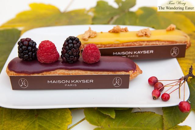 Maison Kayser's mixed berries and yuzu eclairs