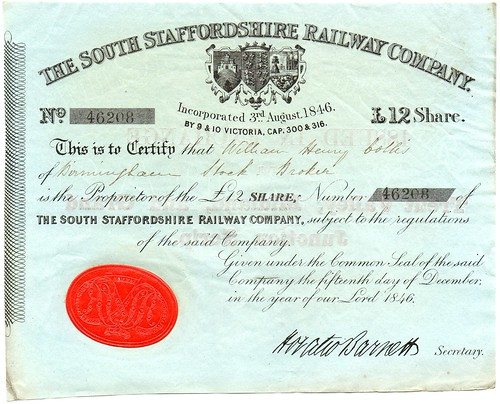 South Staffordshire Railway share Certificate 1846 | by ian.dinmore