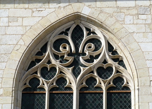 "False ""tracery"" (actually a stone sculpture), the chapel window on the west facade, the palace of Jacques Coeur (c.1450), Bourges, Cher, France 