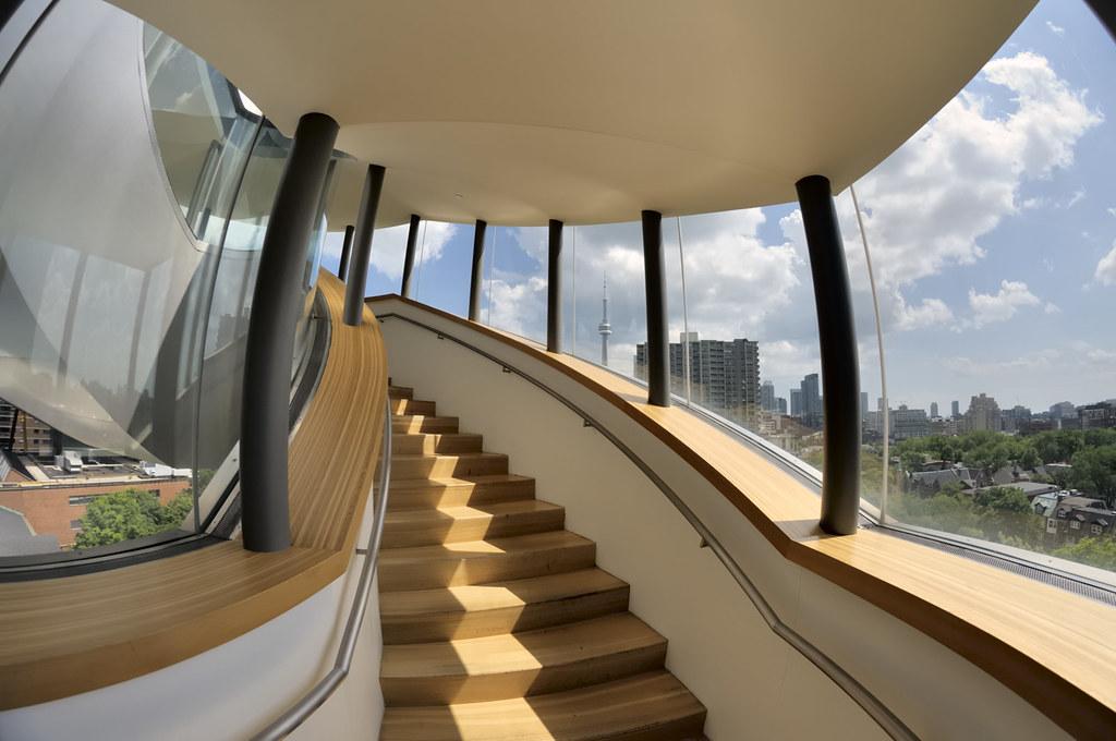 South façade 'barnacle' staircase, Frank Gehry, 2008 - Cen