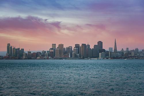 sanfrancisco california skyline sunrise treasureisland pastel bayarea pixelmama