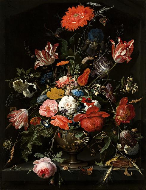 Abraham Mignon, Blumen in einer Metallvase (Flowers in a Metal Vase)