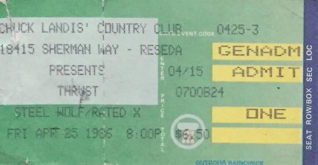 1986 Concert Stubs