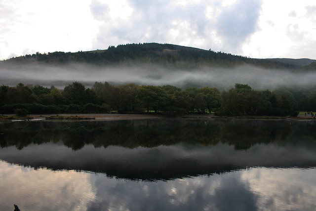 Sky Hill Fog Trees Lake