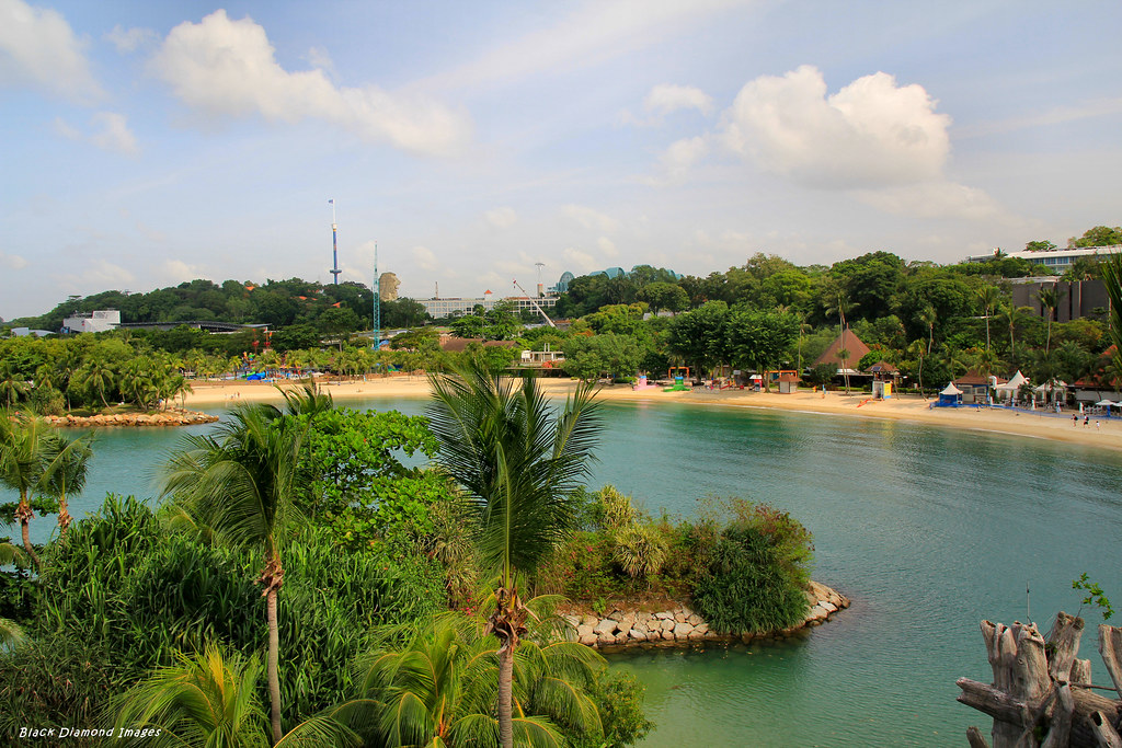 View From Lookout Tower Over Palawan Beach Sentosa Island