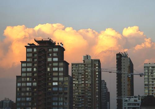 chile city santiago sunset urban clouds buildings evening apartments canoncamera canonreflext3i