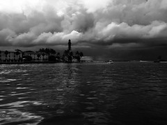 Pompano Beach lighthouse and storm