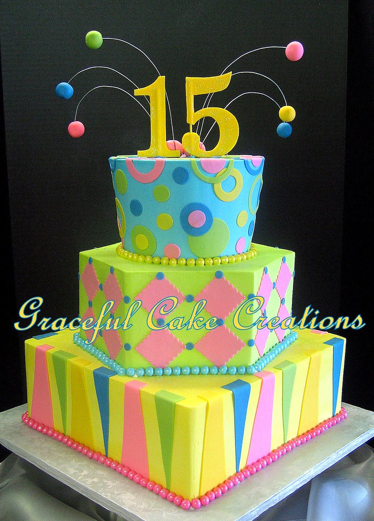 Quinceanera Birthday Cake In Blue Lime Green Yellow And Pink