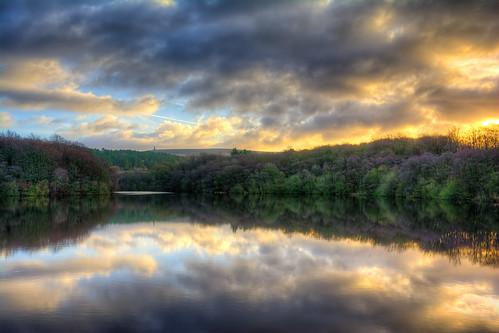reflection tower sunrise woods reservoir moor darwen roddlesworth