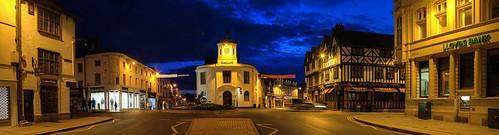 street uk england sky panorama night clouds twilight photoshopped noflash bluehour warwickshire stratforduponavon