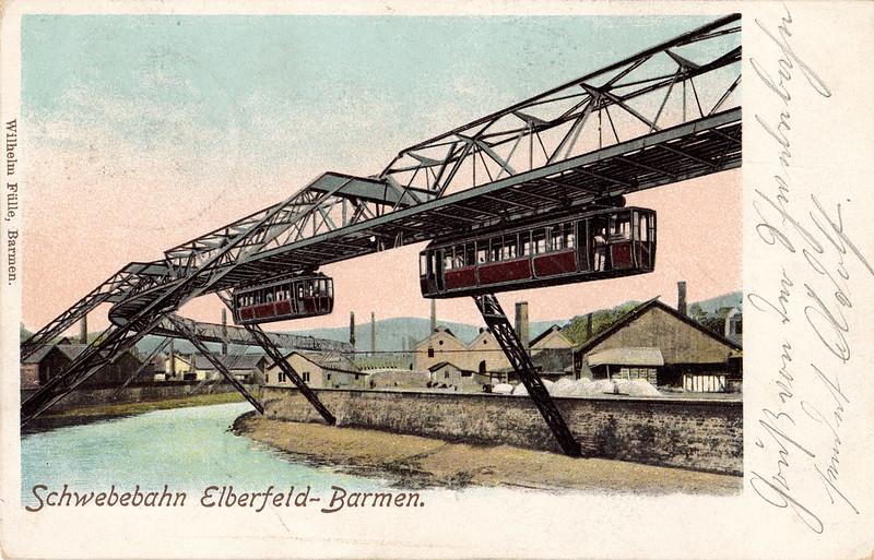 Historische Ansichtskarte / vintage picture postcard. (Wuppertal-)Elberfeld: Schwebebahn-Testfahrt / test run of the suspension monorail