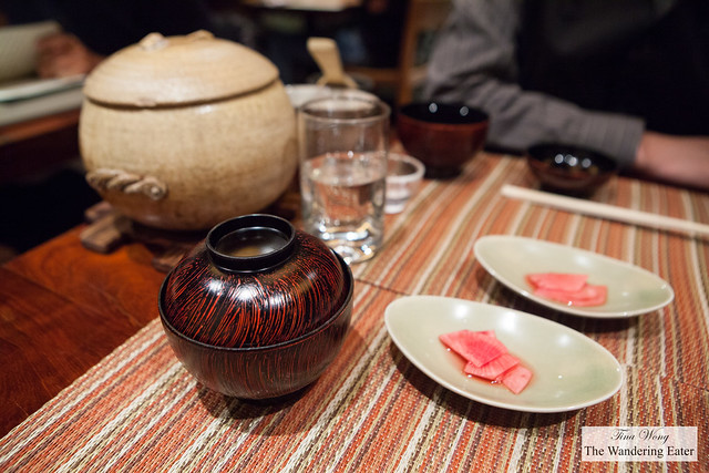 Eighth Course - Oshokuji with our black and red lacquer bowls of red miso soup