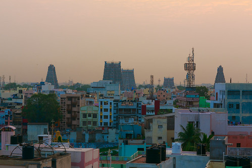 morning house tower skyline sunrise temple colorful sunny madurai tamilnadu gopuram meenakshiammantemple 泰米尔纳德邦 马杜赖
