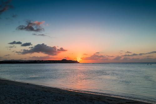 ocean sunset beach westin guam layover fujix100s