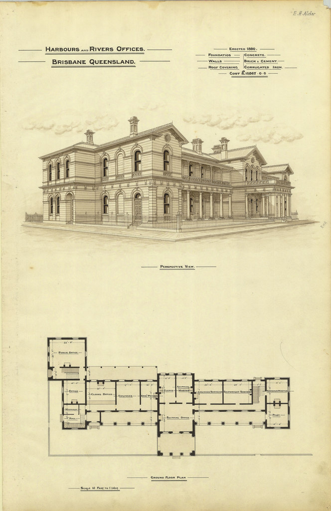 Architectural plan of the Harbours and Rivers Offices, Bri