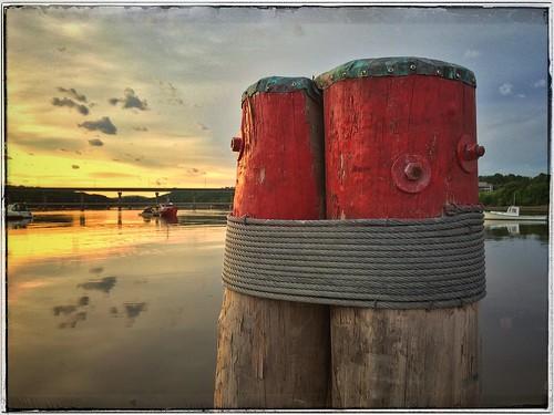 sunset reflection boats harbor maine belfast mooring posts pierpillars snapseed