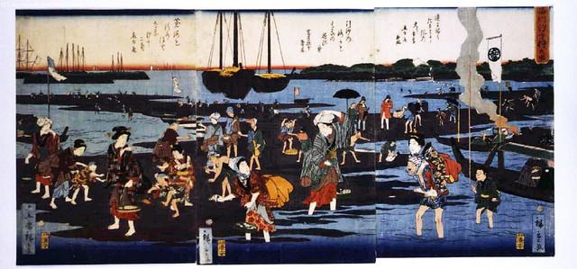 Hiroshege II (1826-1869) - Shellfish Gathering at Low Tide (Edo Tokyo Museum, Japan)