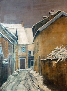 La rue traversière à Orgelet - peinture de Thierry Méheut