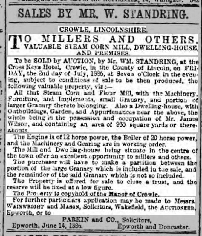 Steam Corn Mill - Sheffield Daily Telegraph - Saturday 26 June 1886